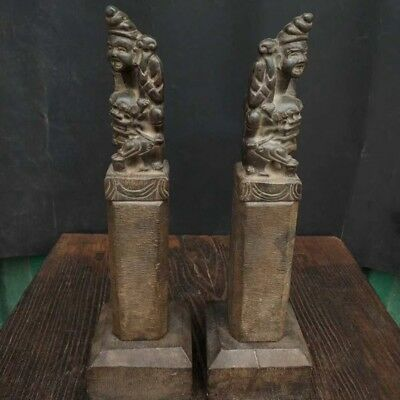 """15"""" A pair China old antique Tibet Buddhism stone hitching post lion statue"""