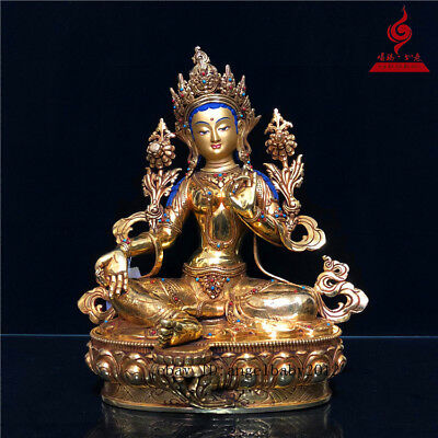 "14"" China old copper gilt inlay Turquoise Coloured painting Green Tara statue"