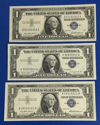 1957 $1 Blue Choice Crisp AU SILVER Certificates Set of 3! Old US Paper Currency