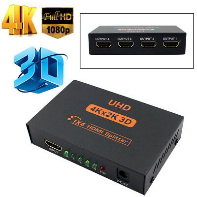 1080P 3D Hub 1 In 4 Out Ultra HD 4K 4 Port HDMI Splitter 1x4 Repeater Amplifier