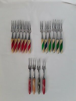 Bulk Lot 16 LITTLE COCKTAIL FORKS Vintage Retro Harlequin Colours ~ Japan