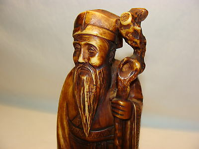 Vtg Carved Chinese Man With Staff Figure Sculpture Statue Oriental Art Decor