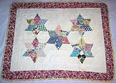 Vintage Antique Baby or  Doll Stars Hand Quilt Multi Feed Sack Patchwork 23 x 18