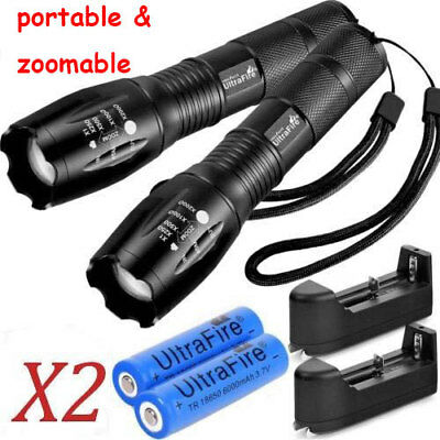 2X Tactical Ultrafire Flashlight T6 HighPower 5 Modes Zoom Focus &18650 Battery*