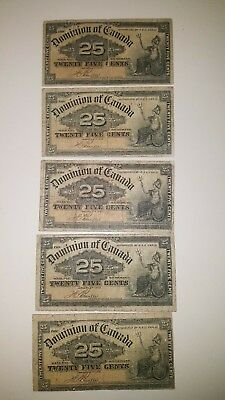 Bank Of Canada 1900- 5  - .25 Cent Notes   Selling 1 For $25 Each