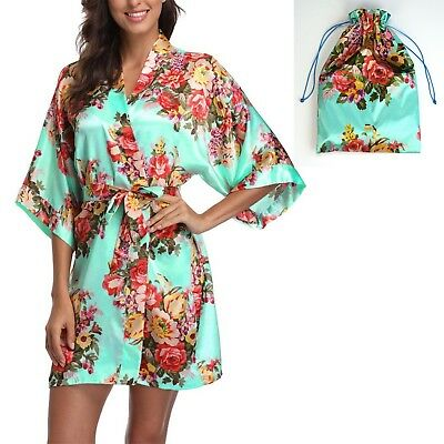Mint Women Satin Floral Robe Wedding Favor Bridesmaid Gift - One Size (US 2-14)