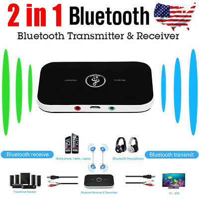 2in1 Wireless Bluetooth Transmitter Receiver Music A2DP Home TV Audio Adapter US