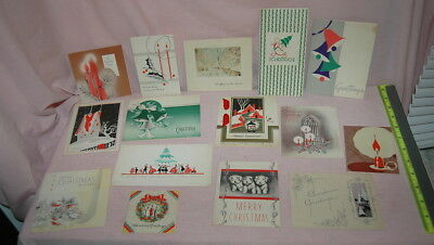 Vtg LOT Christmas Cards 1930s/1940s Art Deco, Puppies & Traditional Designs