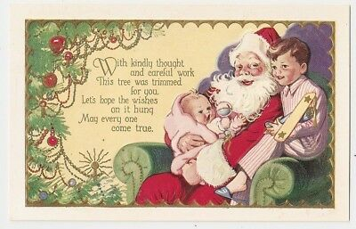 Santa Claus Baby Girl and Boy on Lap Toy Airplane Christmas Poem Postcard