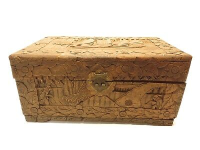 Vintage Antique Chinese Hand Carved Wooden Camphor Box Ca2D418