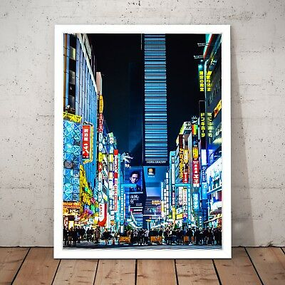 Tokyo Neon Street Night Lights Photo Art Poster Print - A4 A3 A2 A1 A0 Framed