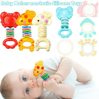 Safety Baby Rattles Teether Toy Gutta Molar Bars Biting Bells Silicone Teething