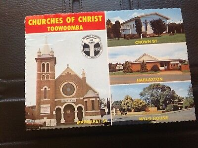 1982 postcard (used in 1995) Queensland TOOWOOMBA Chuches of Christ centenary