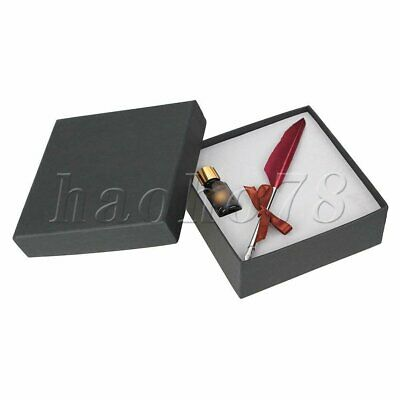 Burgundy Stainless Steel Feather Quill Pen with Gift Box Writing with Ink Bottle