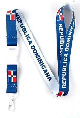 Republica Domincana flag reversible lanyard with clip for keys or id badges.