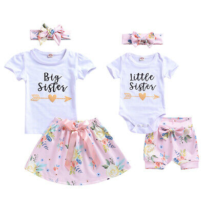 AU Summer Match Clothes Baby Little Sister Romper Pants Big Sister T-shirt Skirt