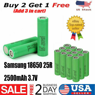 SAMSUNG 18650 2500mAh 35A 25R HIGH DRAIN w/Case Rechargeable Battery Vape1 Mods