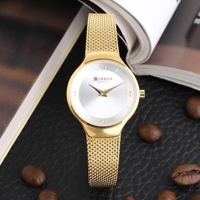 CURREN Womens Casual Fashion Mesh Strap Watch Waterproof Alloy Quartz Wristwatch