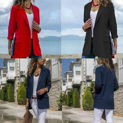 Women Slim Long Sleeve Jacket Casual Work Blazer Suit Top Jacket Coat Outwear