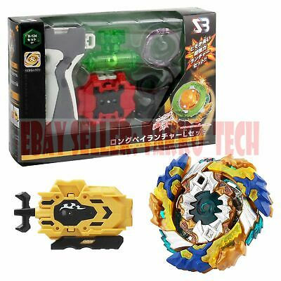 Beyblade B-122 Geist Fafnir+B-124 Gold LongBey Launcher+Grip+Weight Damper Burst