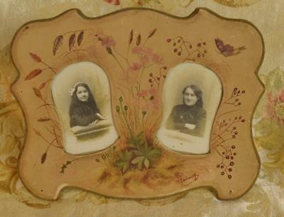 Delightful Antique French Hand Painted Double Photo Frame, Flowers & Butterfly