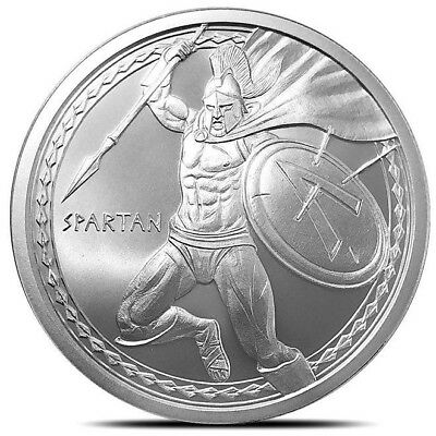 1 oz. ~ .999 Pure Fine Solid Silver (BU) Art Round ~ 2019 Spartan Warrior Series