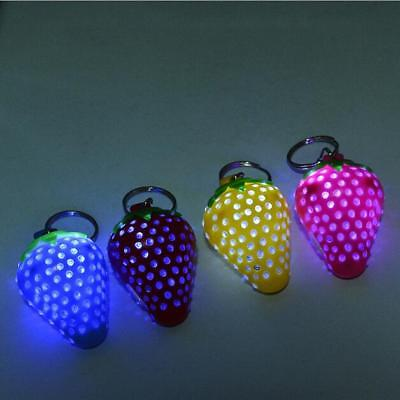 1PCS Keyring Strawberry Shaped Super Bright Plastic 2016 Random Color LED Light