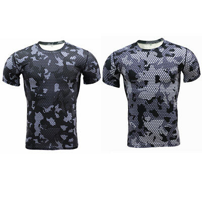 New Men Compression Camouflage Fitness Tights Quick Dry T-Shirts