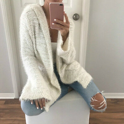 Size 10-18 UK BURFLY Womens Knitted Long Sleeve Color Block Cardigans Sweaters Coats Front Buttons Casual Outerwear Overcoats