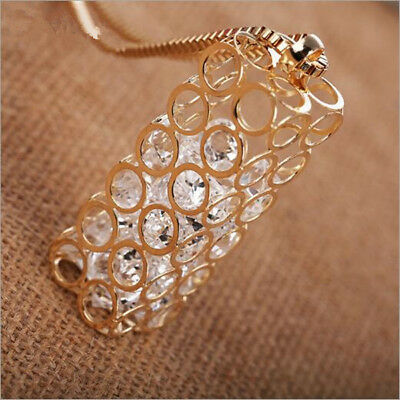 Long sweater chain Crystal  Necklace  Statement  Hot Pendant  Square Box Hollow