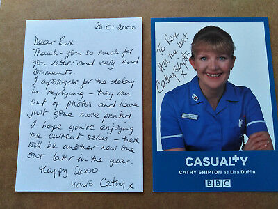 CATHY SHIPTON - LISA DUFFIN - CASUALTY Orig Signed Photo Card - Dedicated to REX