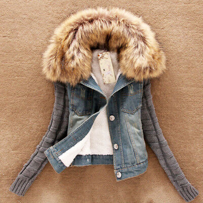 Winter Warm Women Spring Autumn Hooded Coat Jeans Denim Jackets Basic N7