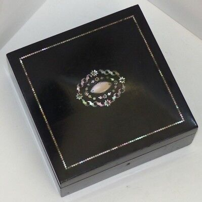 Antique Late 19th Century French Ebonised / Mother of Pearl Inlaid Box / Casket