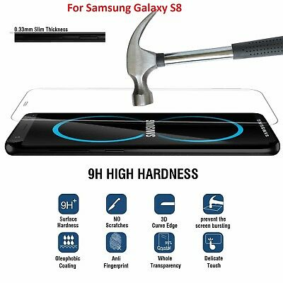 100% Genuine Tempered Glass screen protector film for Samsung Galaxy S8 Clear