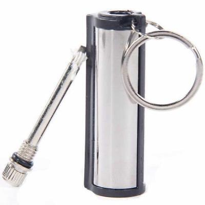 Stainless Steel KeyChain Permanent Match Striker Lighter Keyring Silver&Black DE