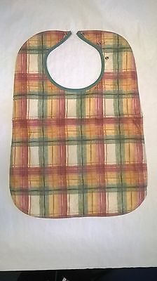Adult bib apron Peach tabard heavy duty Waterproof washable protector 60cm check