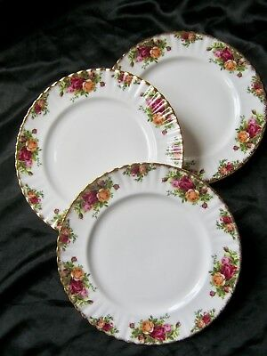 3 pcs Royal Albert Old Country Roses Dinner Plates England Bone China 10 3/8""