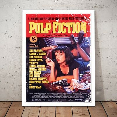 Pulp Fiction Vintage Poster Decor Movie Film Wall Art Print - A3 A2 A1 A0 Framed