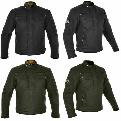 Oxford Hardy Mens Wax Cotton Motorcycle Motorbike Jacket Black Olive Armour New