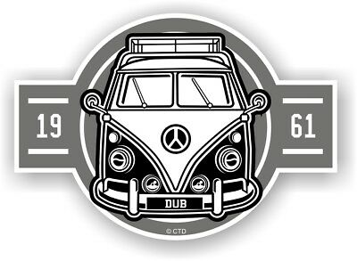 Old School Year Dated 1961 Retro Campervan Camper Van Vinyl car sticker 120x85mm