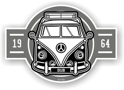 Old School Year Dated 1964 Retro Campervan Camper Van Vinyl car sticker 120x85mm