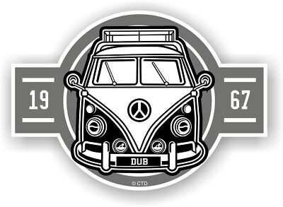 Old School Year Dated 1967 Retro Campervan Camper Van Vinyl car sticker 120x85mm
