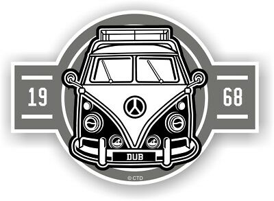 Old School Year Dated 1968 Retro Campervan Camper Van Vinyl car sticker 120x85mm