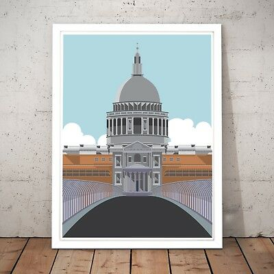 St Paul's Cathedral London Retro Wall Art Poster Print - A4 A3 A2 A1 A0 Framed