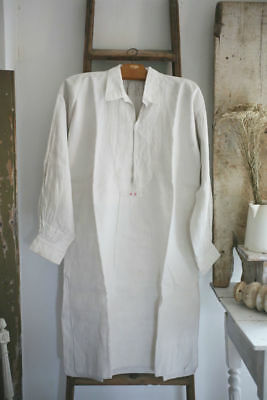 Antique French RUSTIC LINEN men SMOCK bib PLASTRON AE mono c 1880