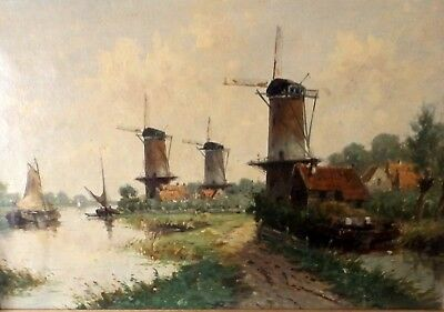 Mid 20th Dutch Oil on Canvas 'Barges and Windmills' Signed G Slock