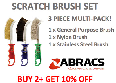Wire Brush X 3 Curved Brass Dipped Scratch Nylon Stainless Steel Brush 3 Pack