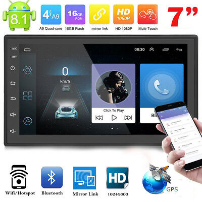 Double 2DIN Quad Core Android 8.1 Car Stereo MP5 Player GPS Navi Radio Bluetooth