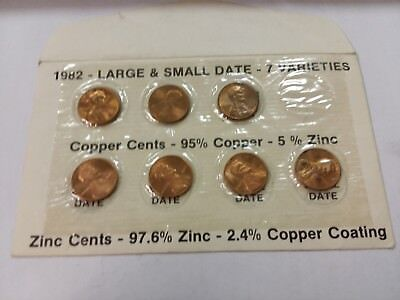 1982-P/D Large & Small Date Uncirculated Business Lincoln Head Cents 7 Varieties
