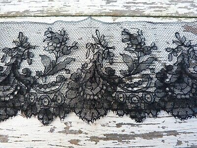"Antique  1800s/1900s French Chantilly lace  black silk  22.4 "" x 3.5 """